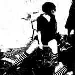 Spank Dance, Linoleum block print 2007
