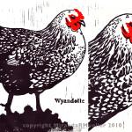 """ID: HEN """"Wyandotte Hen"""" Linoleum Block Print (with detail). 2010 Limited Edition, 8x10, Regular Price $50- Bidding starts at $10 (unframed)."""
