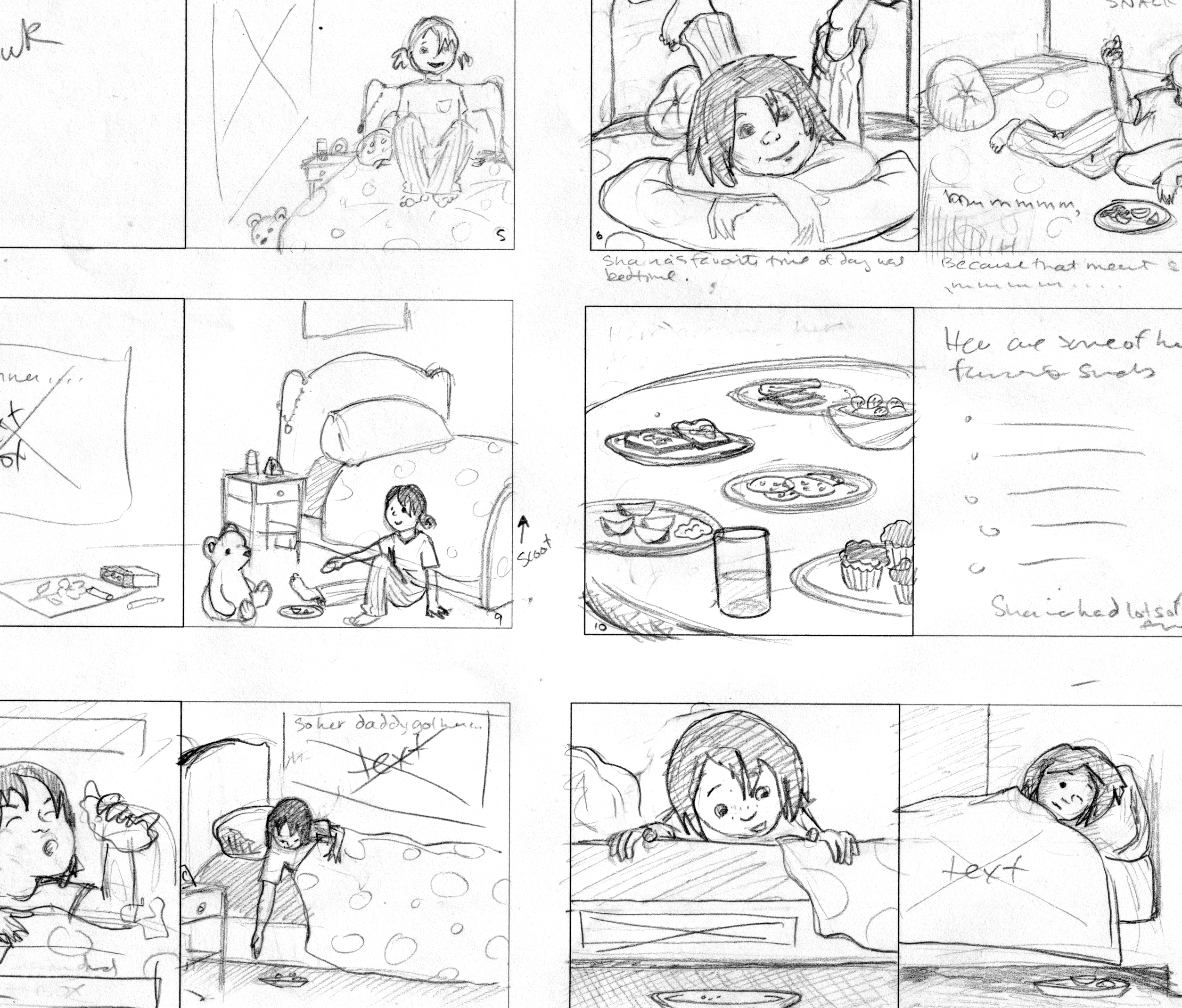 Storyboard for 'Shaina and the Snackit' by Tim Mueller, 2010
